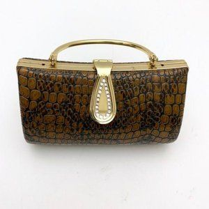 Vintage Mini Purse Animal Snakeskin Gold